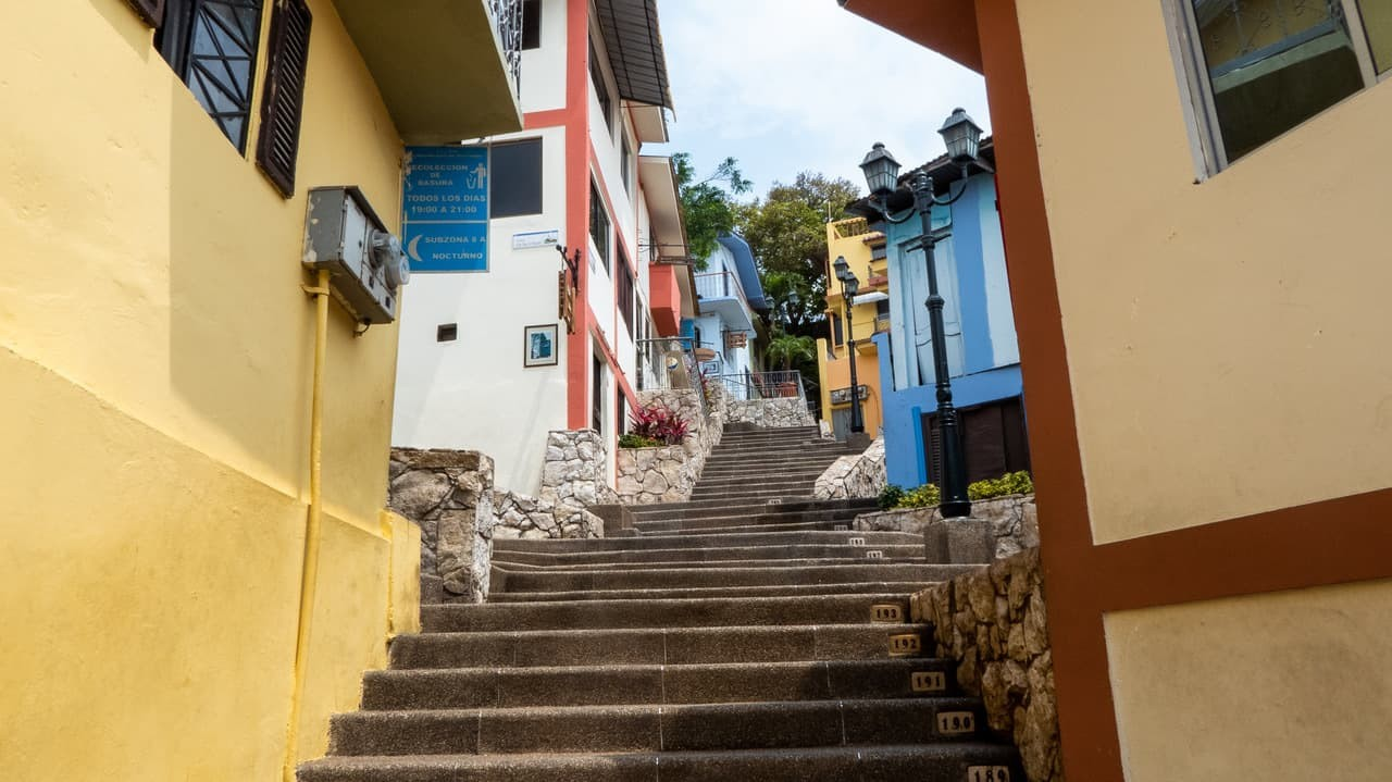 The numbered steps in Las Peñas,Guayaquil, Ecuador