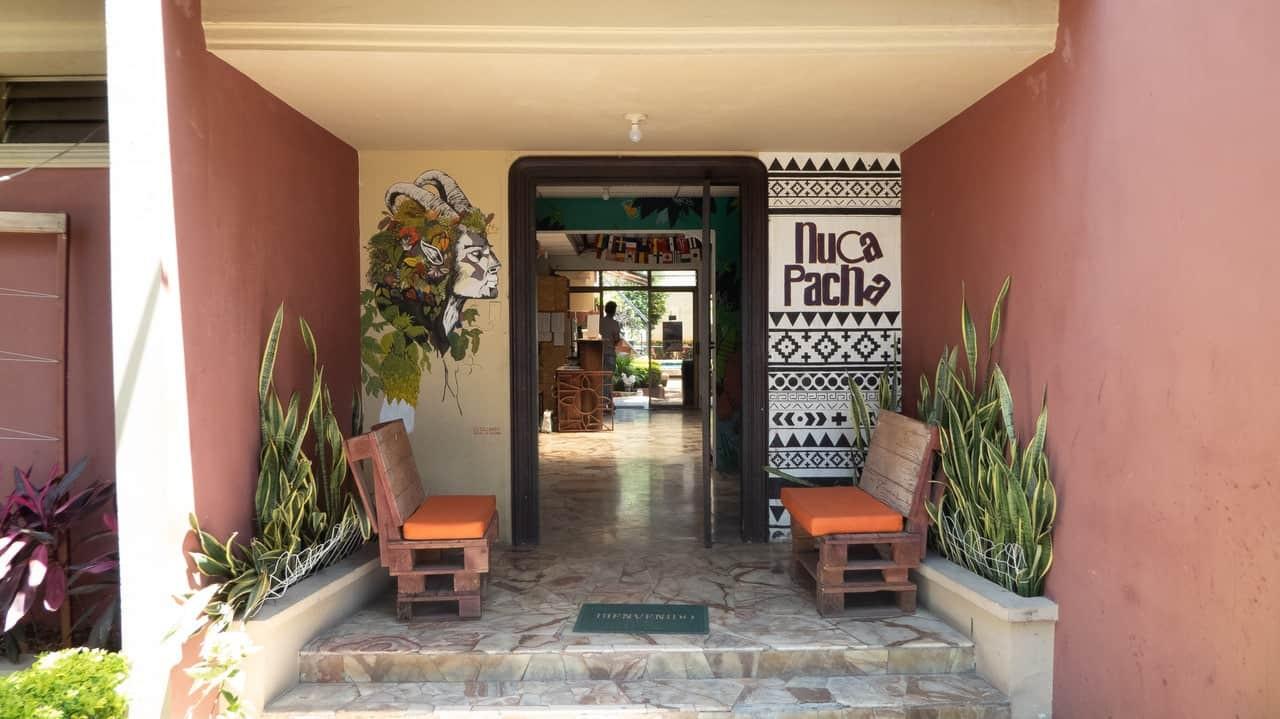 Hostel Nuca Pacha entrance. Guayaquil, Ecuador.
