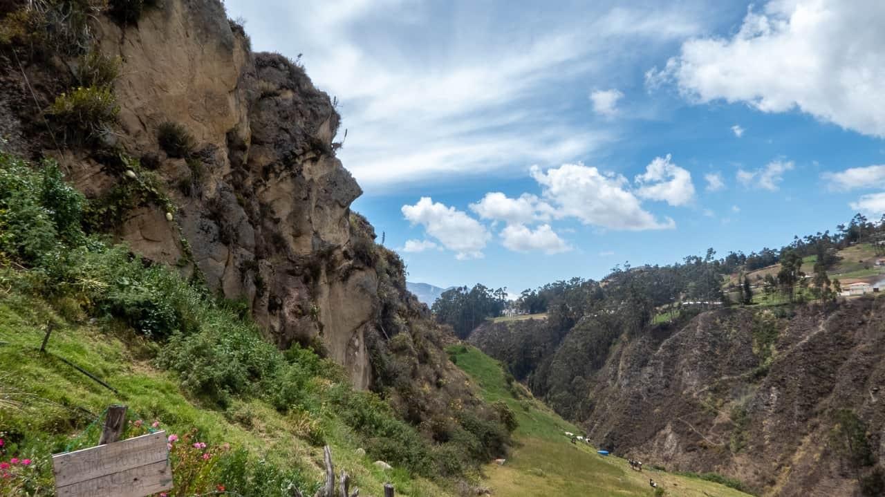 Chiseled in the mountain edge is The Rock Face - Ingapirca, Ecuador