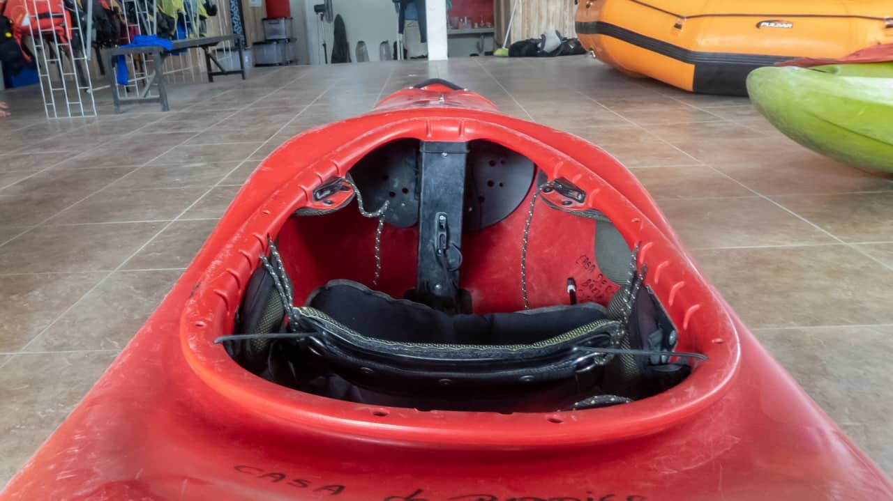 A close-up photo of the kayak we used on our adventure with Kayak Ecuador, Tena, Ecuador.