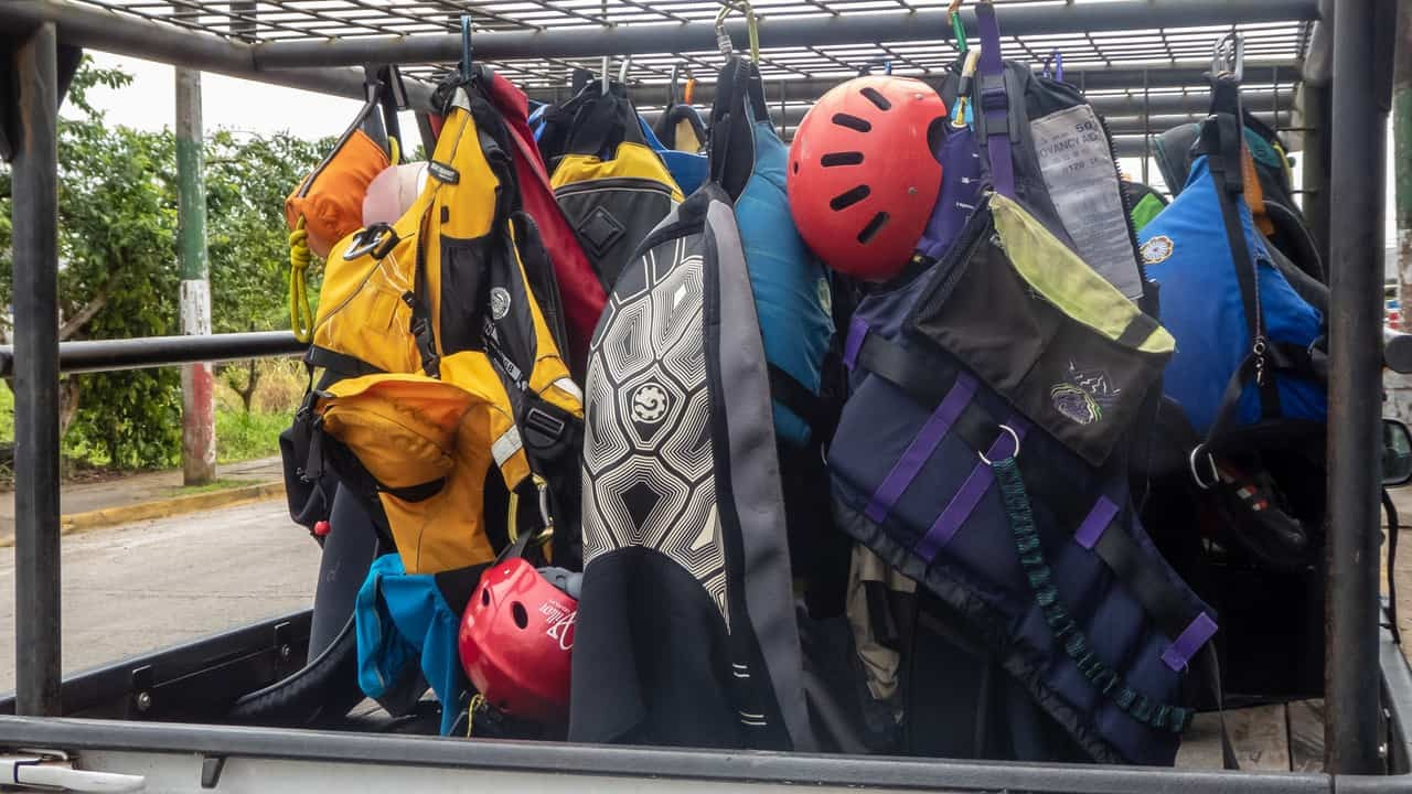 A Collection of Safety Gear used on a Whitewater Kayaking Trip in Ecuador