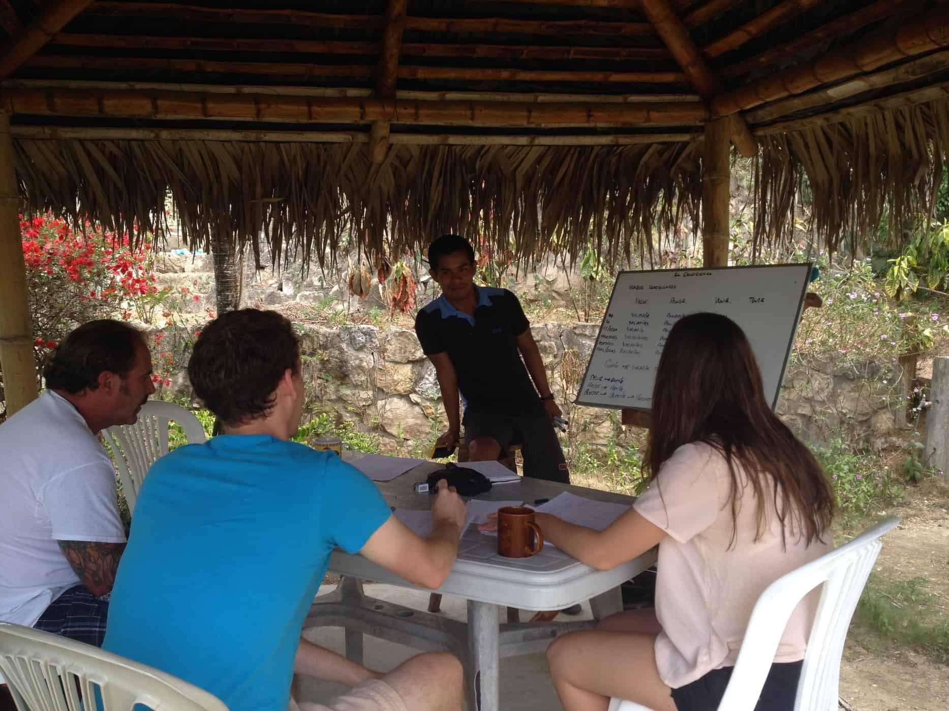 Spanish lesson at Montañita Spanish School