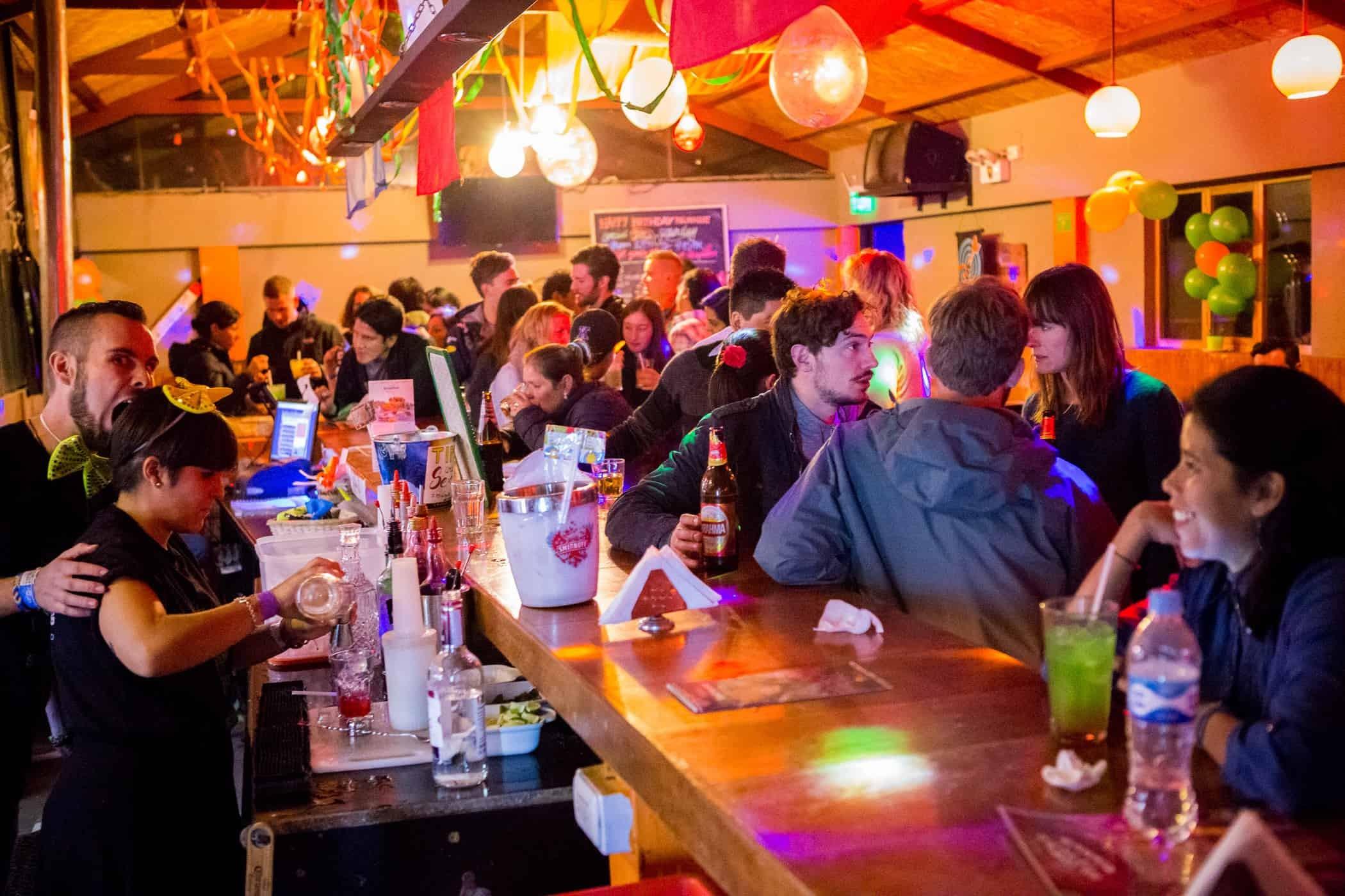 The lively bar at Milhouse Hostel, Cusco, Peru.