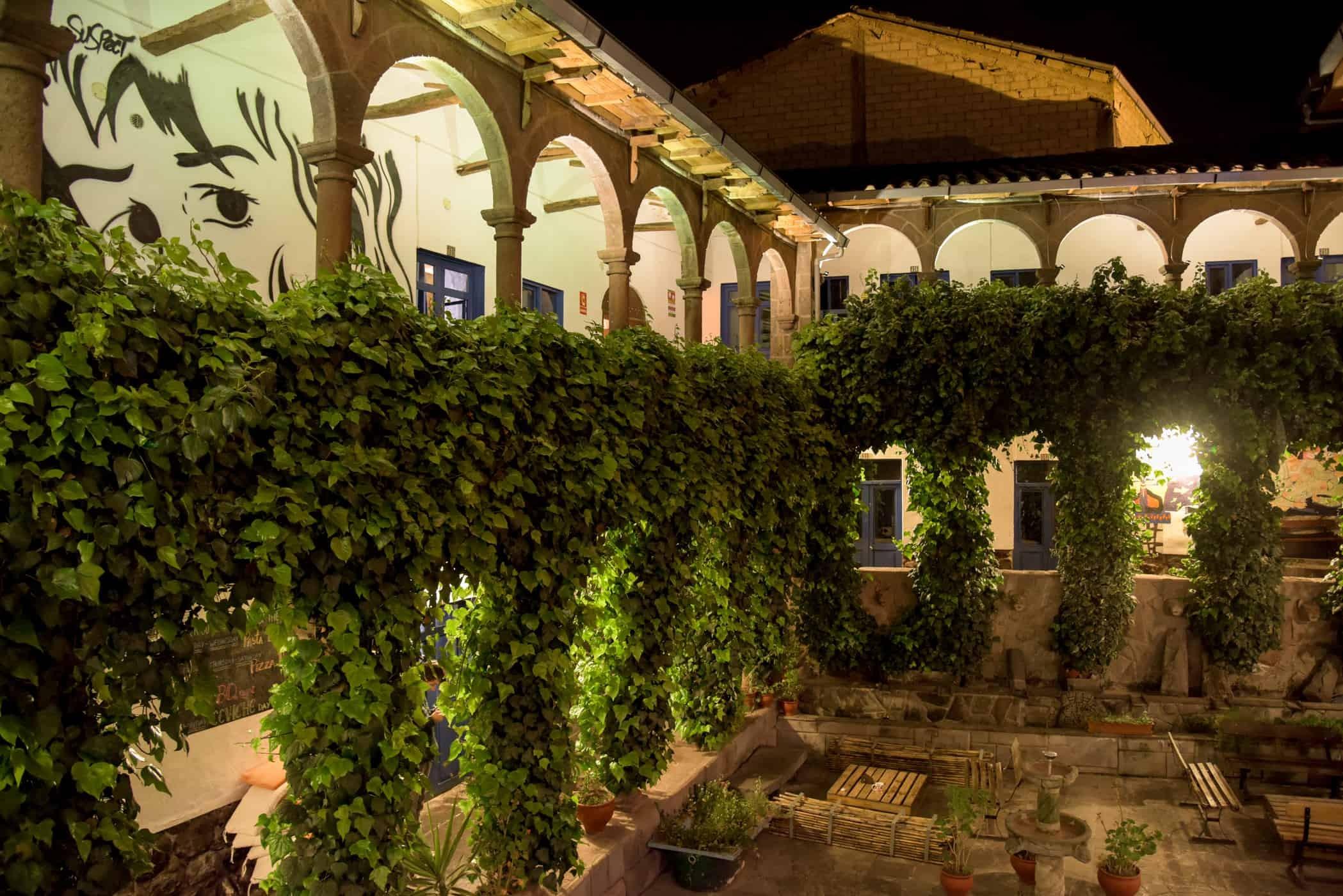 The patio of Milhouse Hostel, Cusco, Peru