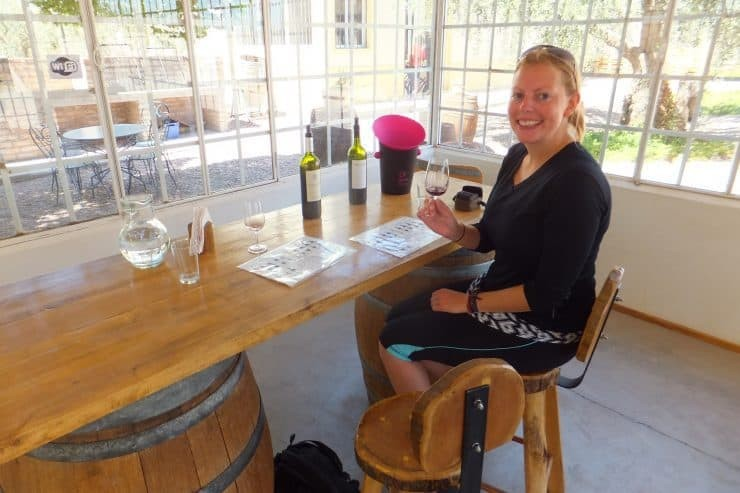 Tasting wine at Bodega Carinae, our first stop in Mendoza.