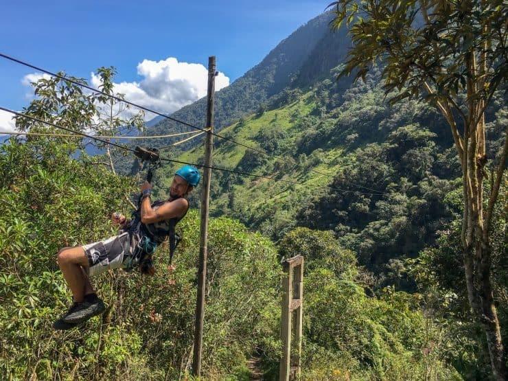 Zip-lining in Baños, Ecuador