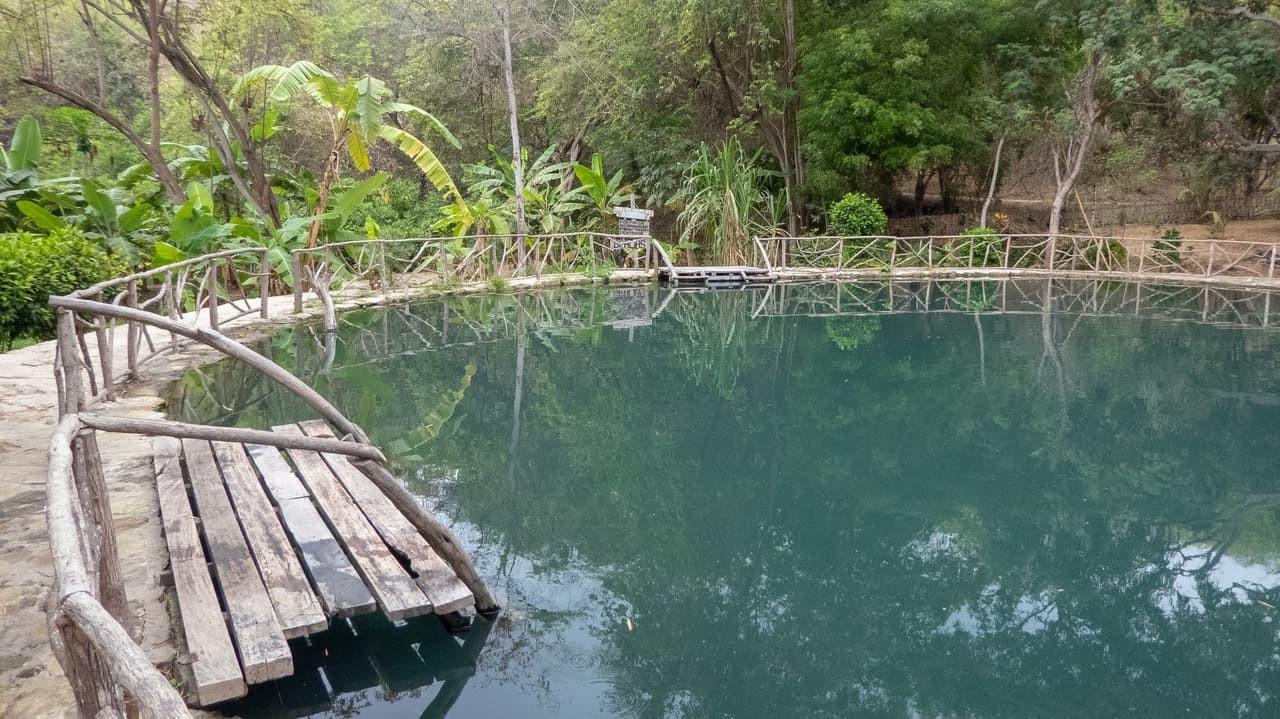 The relaxing sulfuric lagoon in Agua Blanca, Puerto Lopez, Ecuador