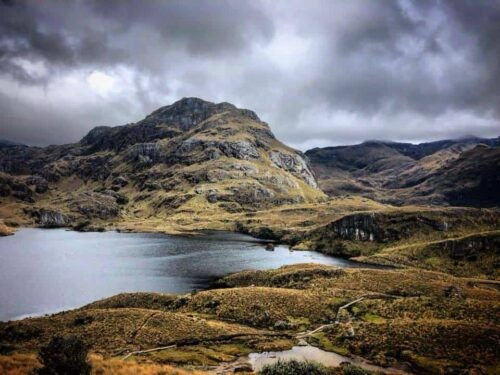 A stunning view of the river and mountains in Cajas National Park Ecuador
