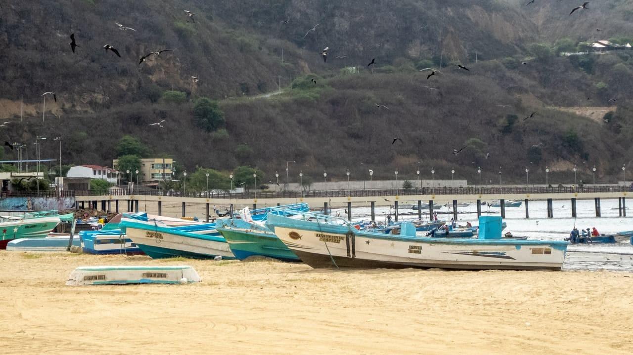 Fishing vessels docked in the shore of Puerto Lopez, Ecuador