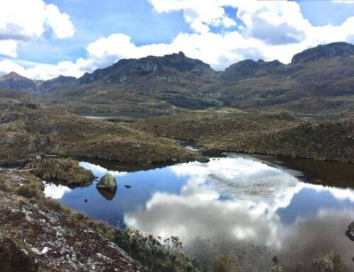 Clouds reflected on the river at Cajas National Park Ecuador
