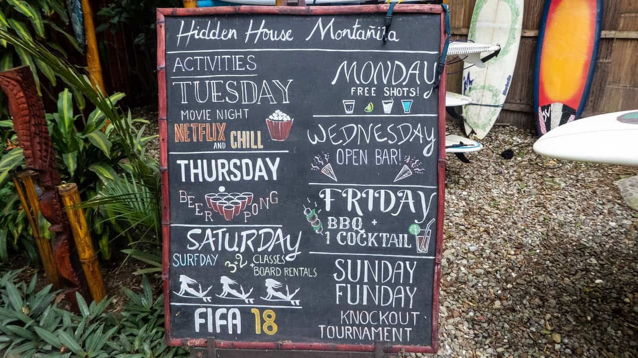 The chalkboard broadcasts the list of activities offered in Hidden House Montañita Ecuador.