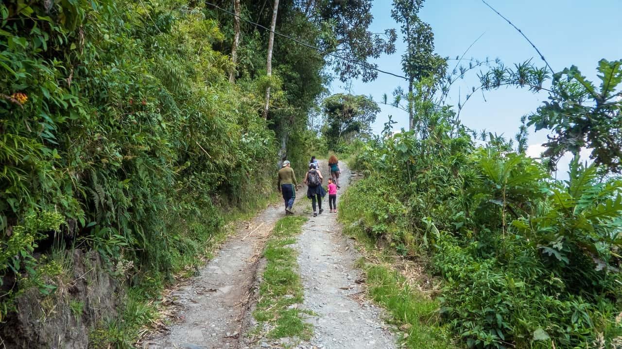 A group walking up the hill to the farm, Baños, Ecuador