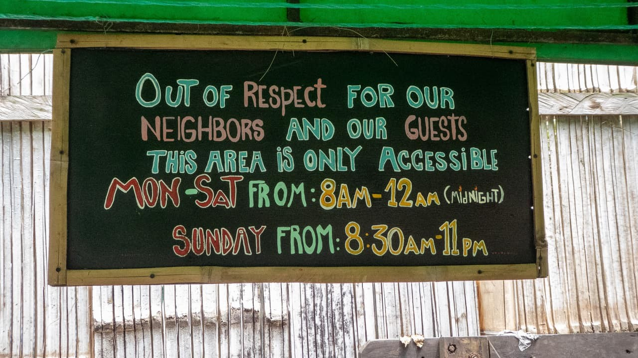 Esperanto Hostel provides information boards for guests' guidance on their rules. Montañita, Ecuador