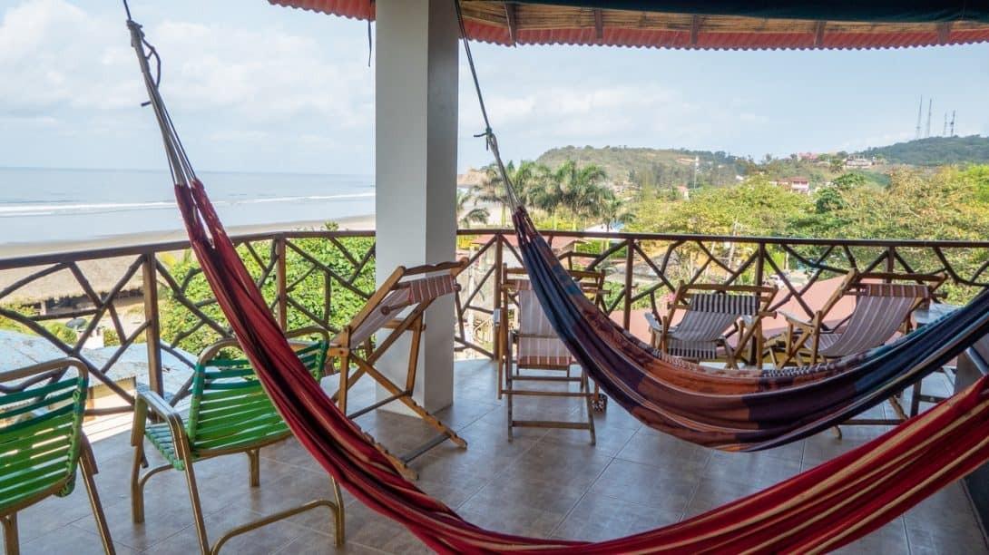 Beach view from Esperanto Hostel Montañita, Ecuador