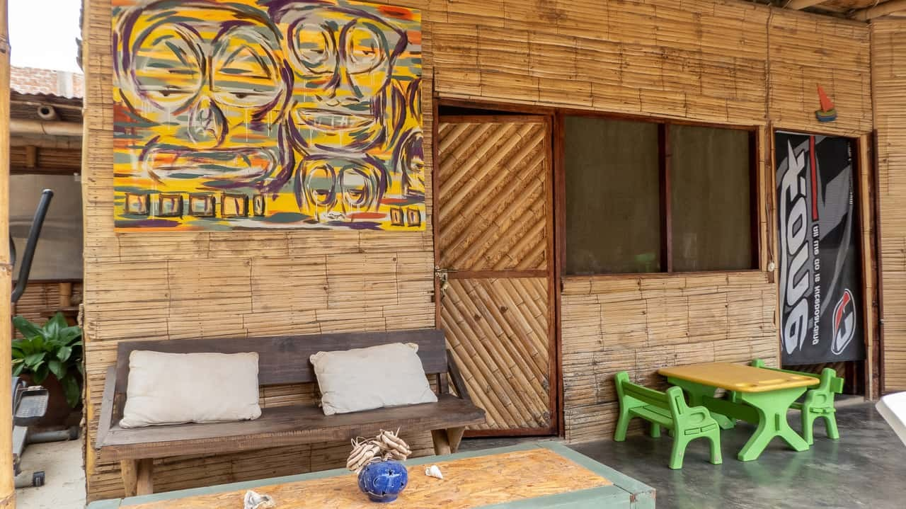 With a rustic vibe the spacious outdoor living areas in Geko Hostel takes a homey ambience. Mancora, Peru.