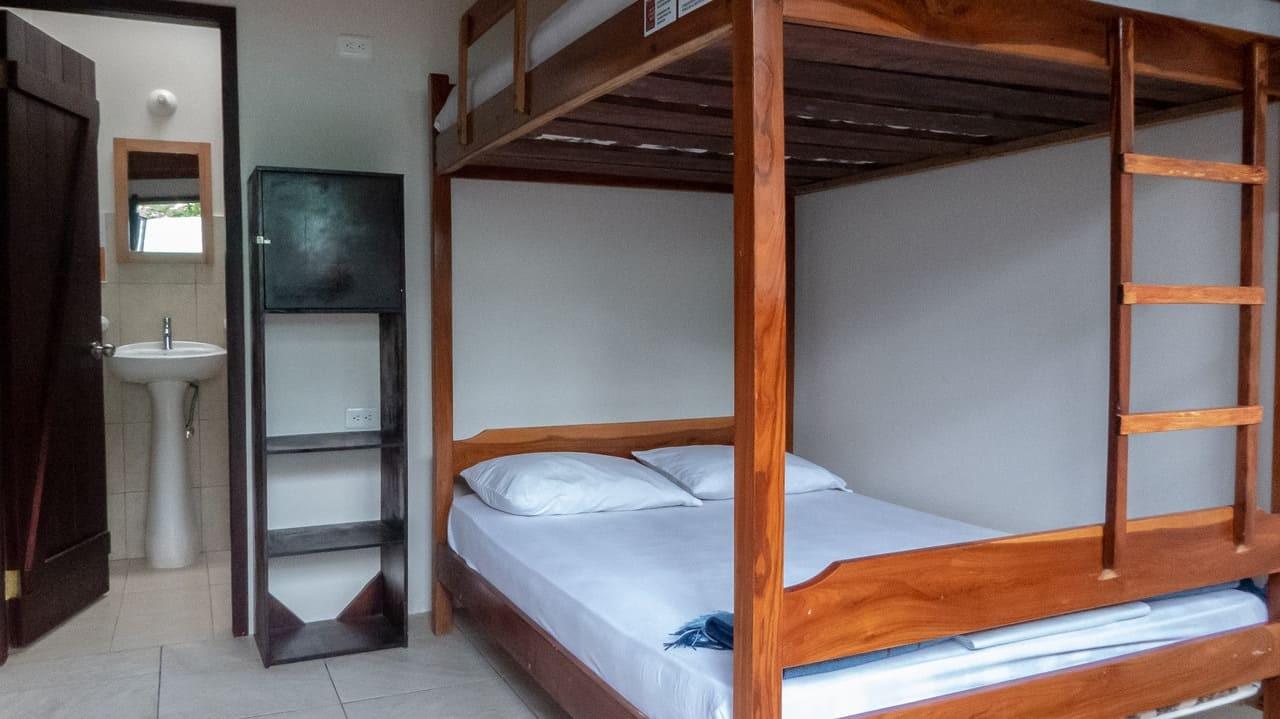 Dorm room in Esperanto Hostel, Montañita, Ecuador.