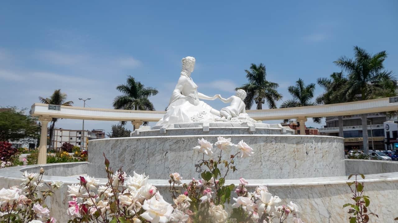 A Statue on Paseo de las Musas, Chiclayo, Peru.