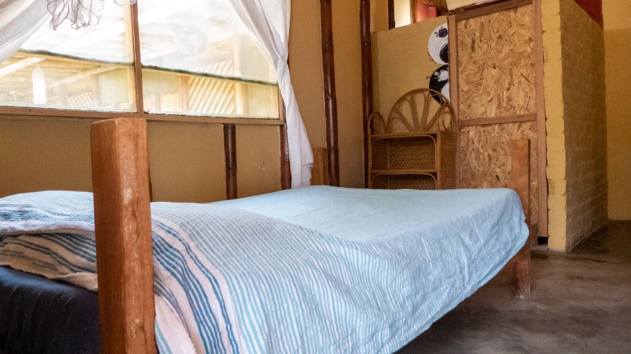 The private rooms are simple and really clean and each has own shower room. Mancora, Peru.