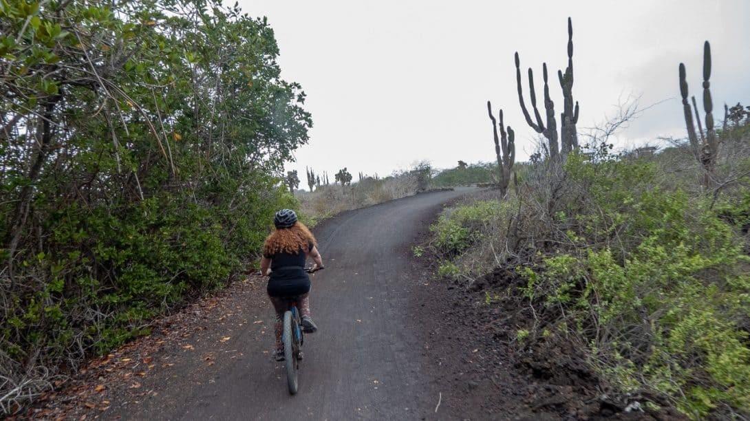 Riding a bicycle in the Galapagos Islands, Ecuador.