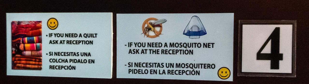 To assist guests on their bedtime essentials, Esperanto Hostel has information boards. Montañita, Ecuador