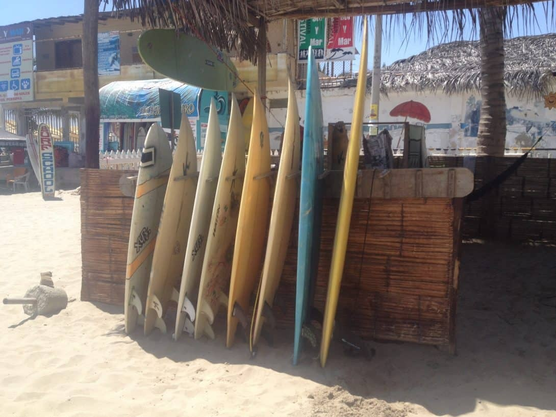 Surf boards on the beach in Máncora Peru