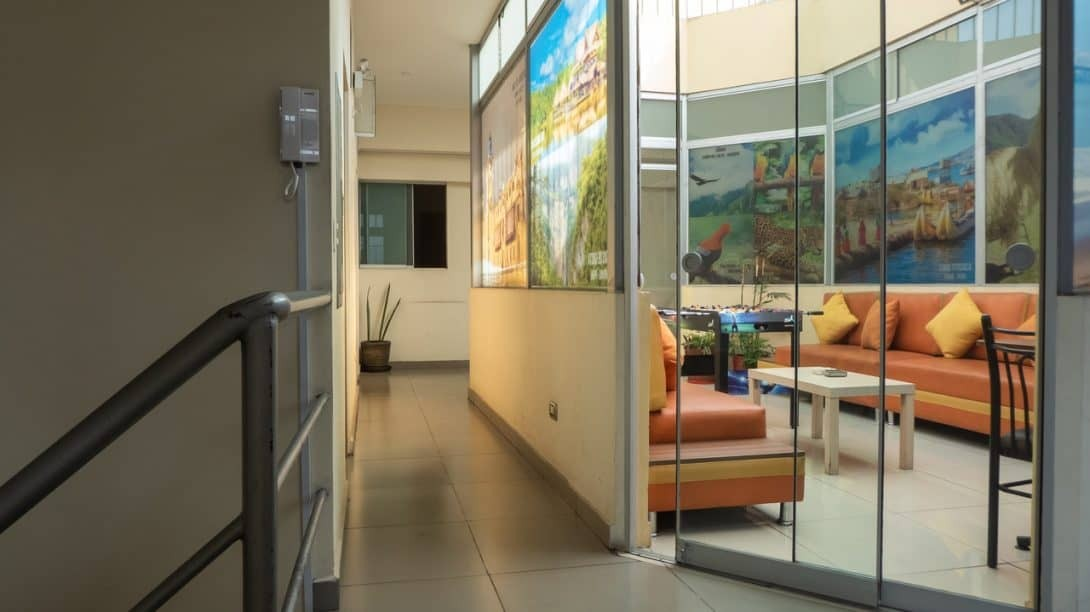 The interior of Lima House Hostel Peru
