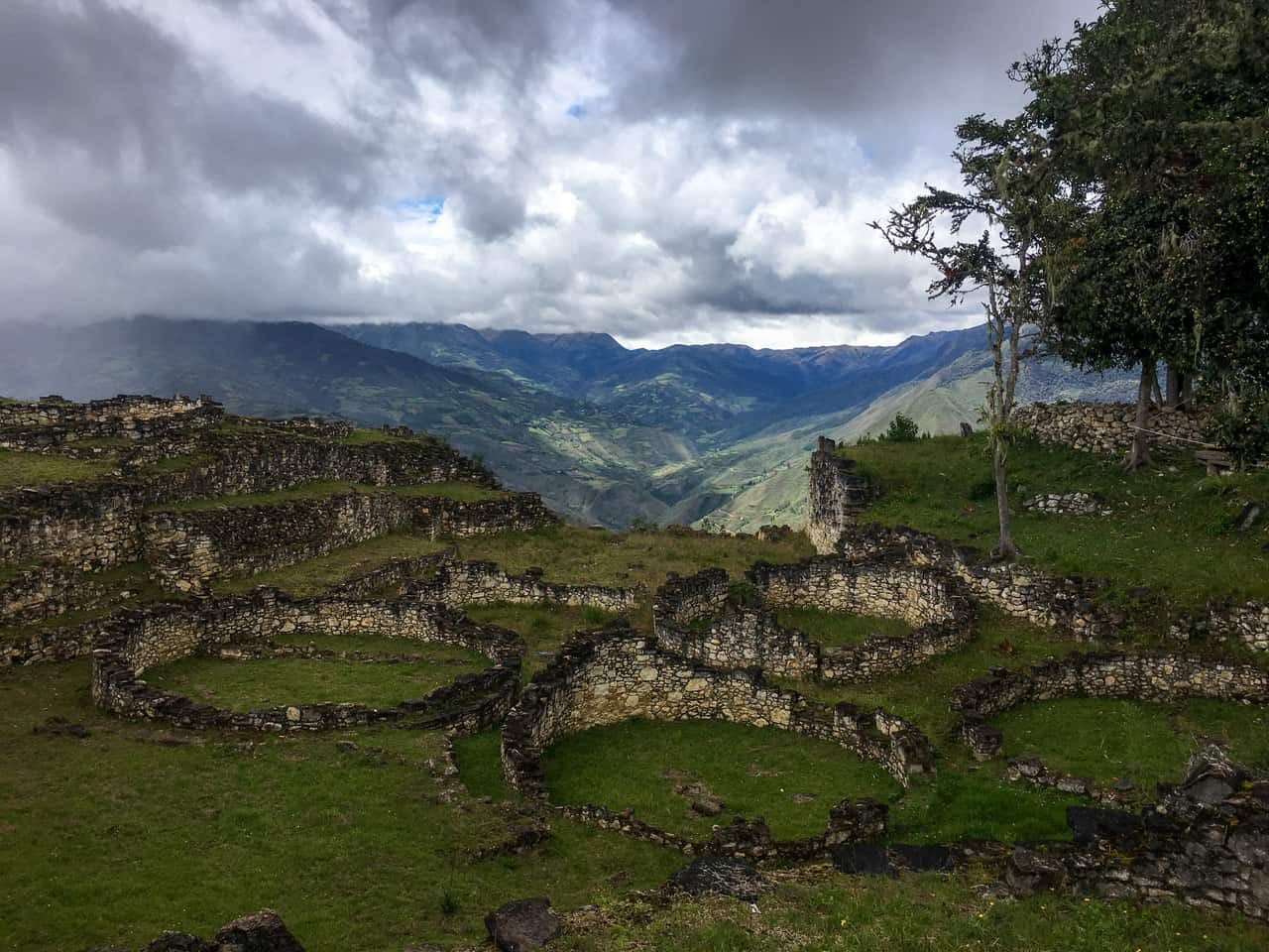 The remains of the stone dwellings which are 1,500 years old now - Kuelap fortress of Northern Peru.