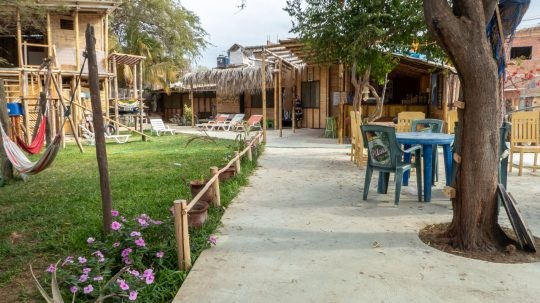 The yard of Geko Hostal, Máncora, Peru