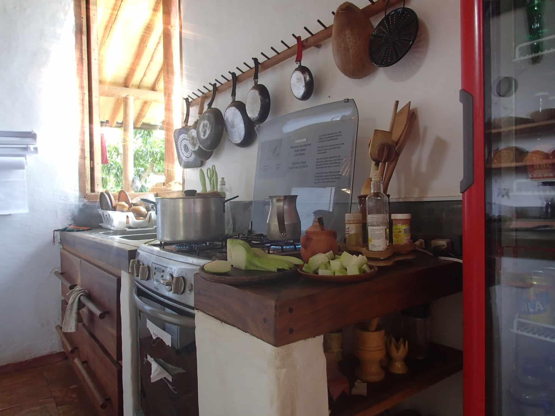 The communal kitchen at Tinto Hostel, Baricahara, Colombia.