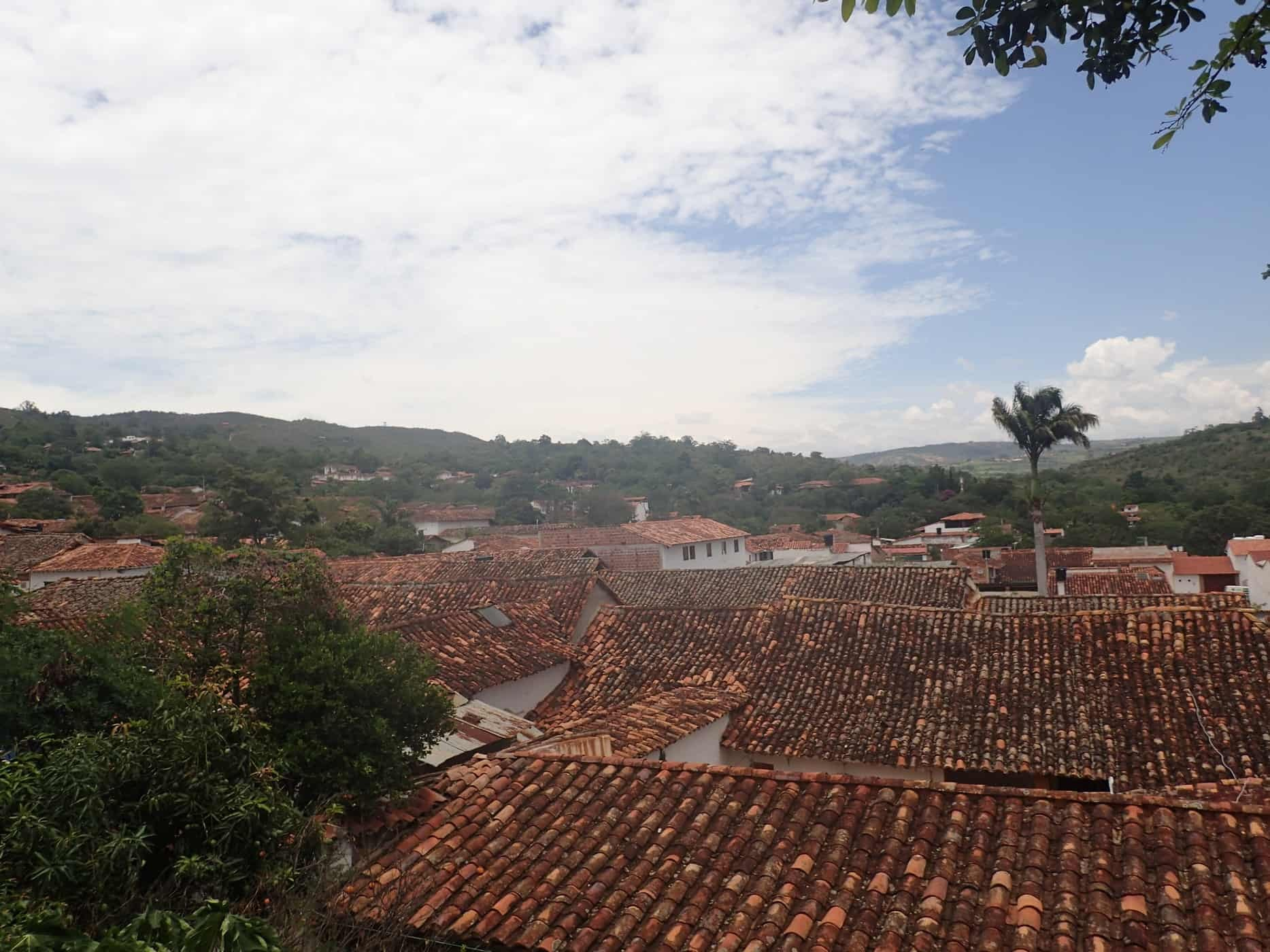 A view over the rooftops from Tinto Hostel in Barichara, Colombia.