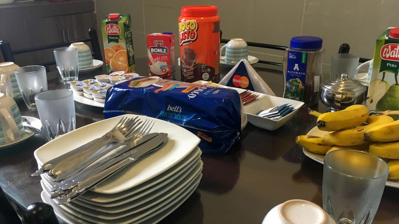 The Breakfast Spread at Lima House Hostel, Peru.