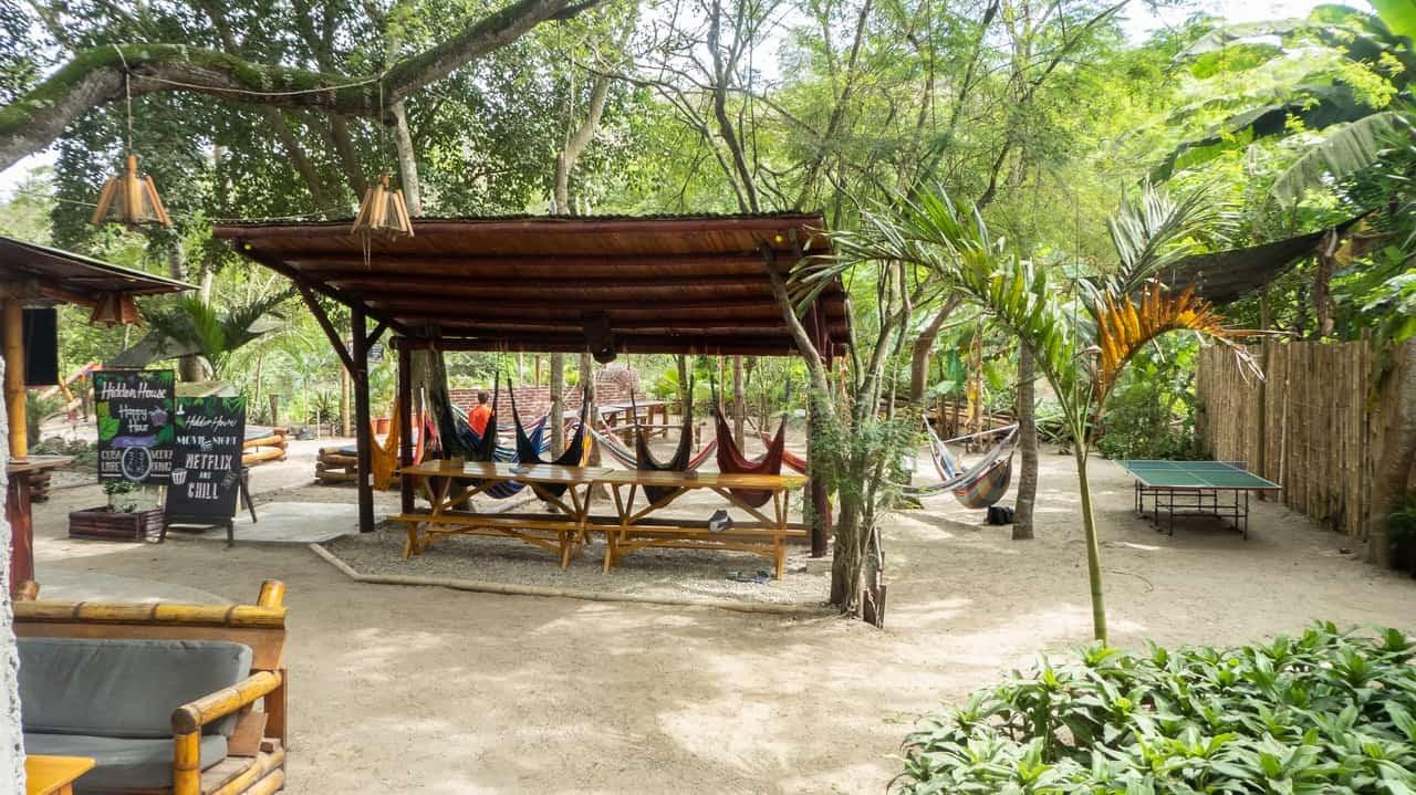 The wide and green yard of Hidden House in Montañita, Ecuador.