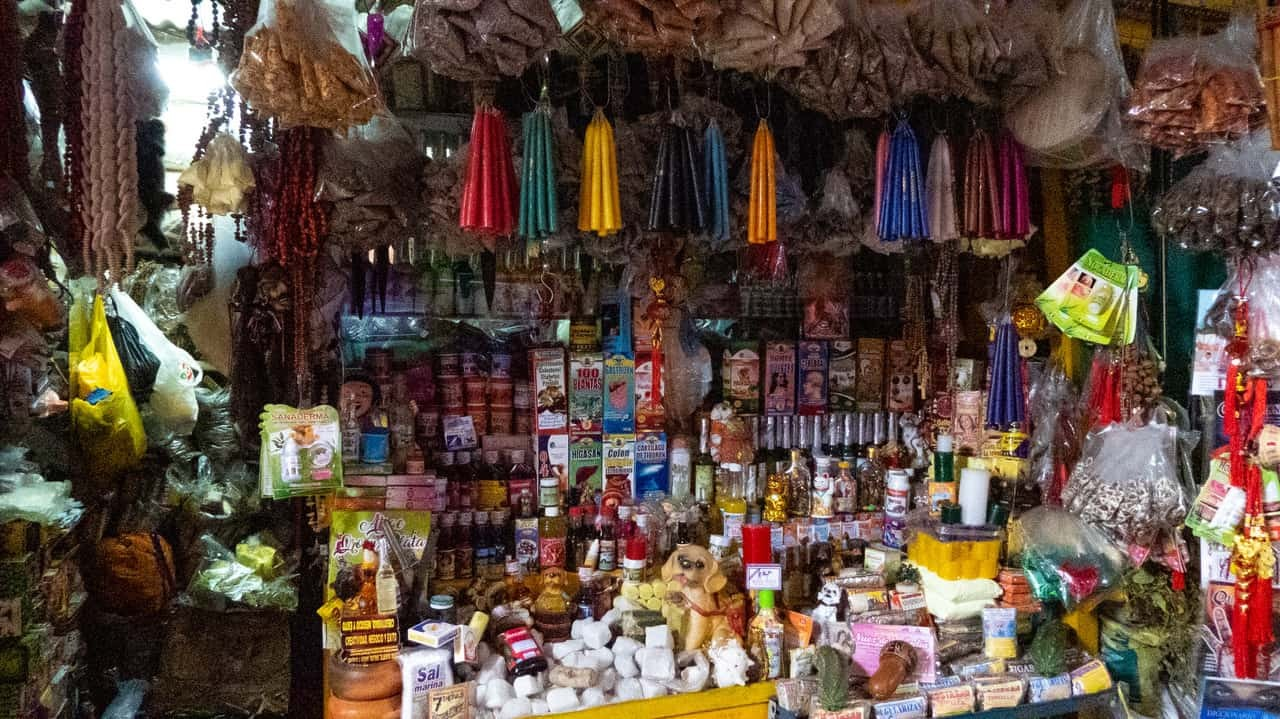 A Treasure-Trove of Traditional Herbs and Mysterious Concoctions Tucked Away in Mercado Modelo. Chiclayo, Peru.