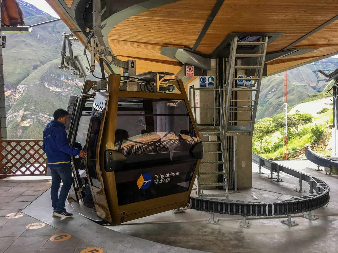 The cable cars bring visitors to the historical site complex of Kuélap, Peru.