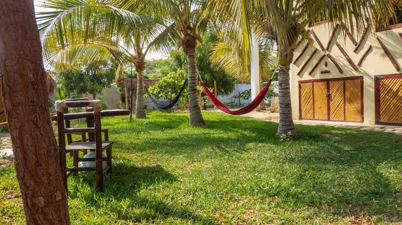 Pretty garden setting with hammocks. Casa Nomade, Mancora, Peru.