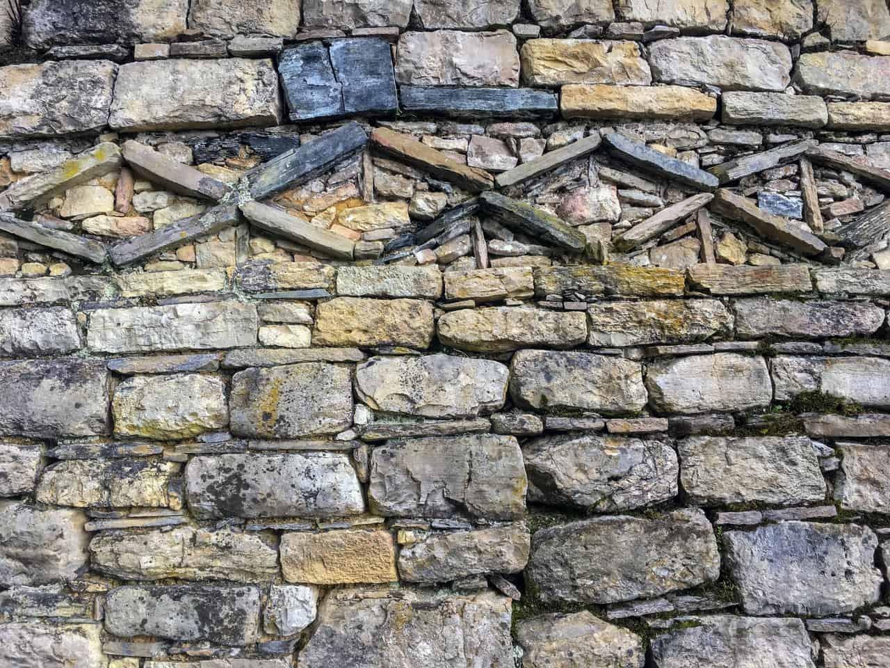 Stone walls designed with geometric shapes. Kuelap, Peru.