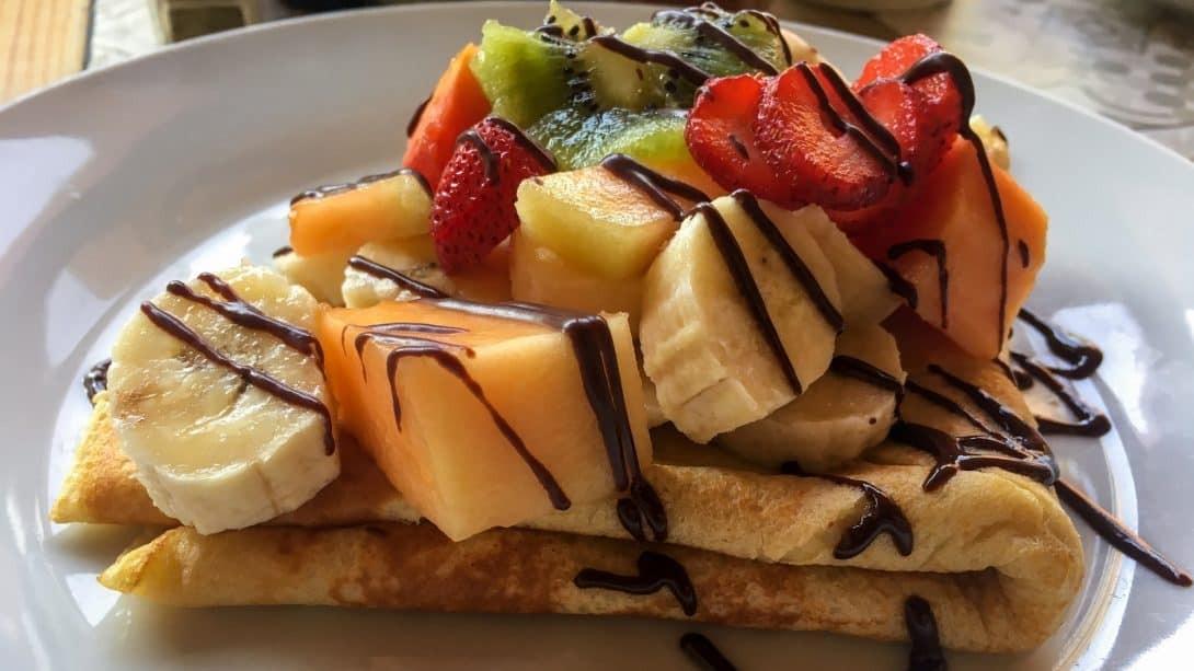 Pancakes and fruit at Wild Olive, Huacachina