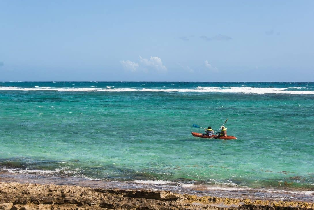 Kayaking from San Luis Beach, San Andrés, Colombia.