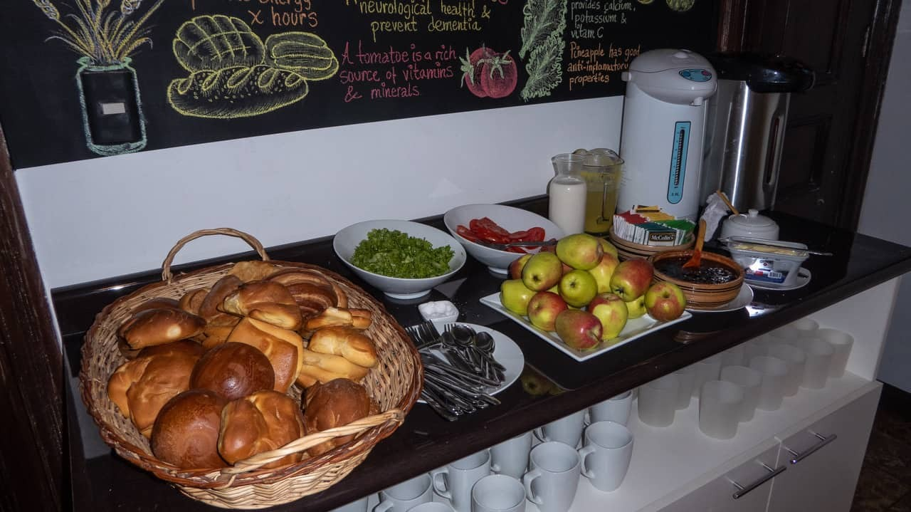 Buffet breakfast at Orchid Hostels, Lima.