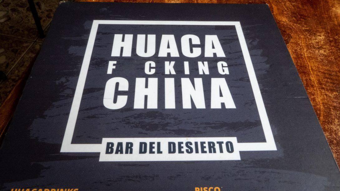 Bar menu in Huacachina