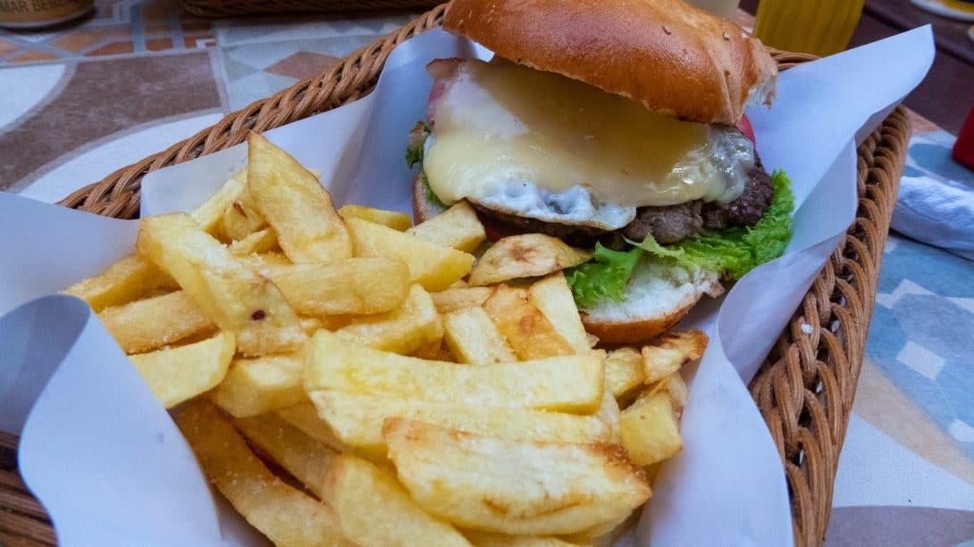 Burger and chips at Banana's Adventure Hostel