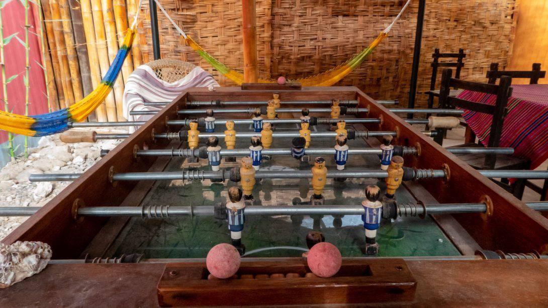A foosball table at Nasca Trails B&B.