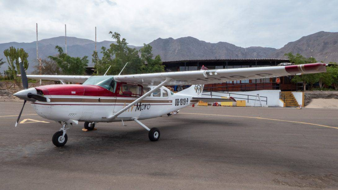 Plane waiting to fly over the Nasca Lines