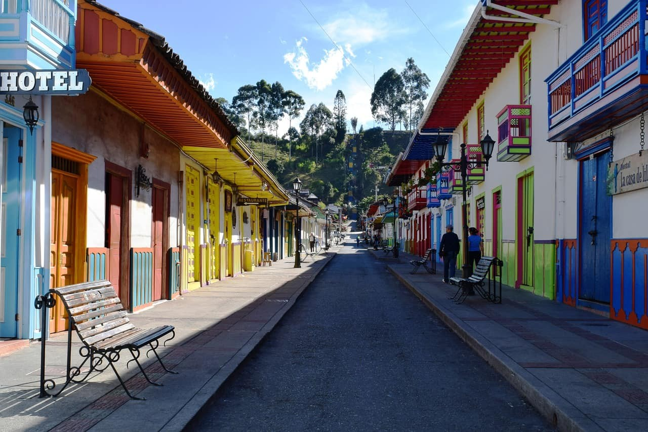 The colourful Paisa architecture of Salento, Colombia.