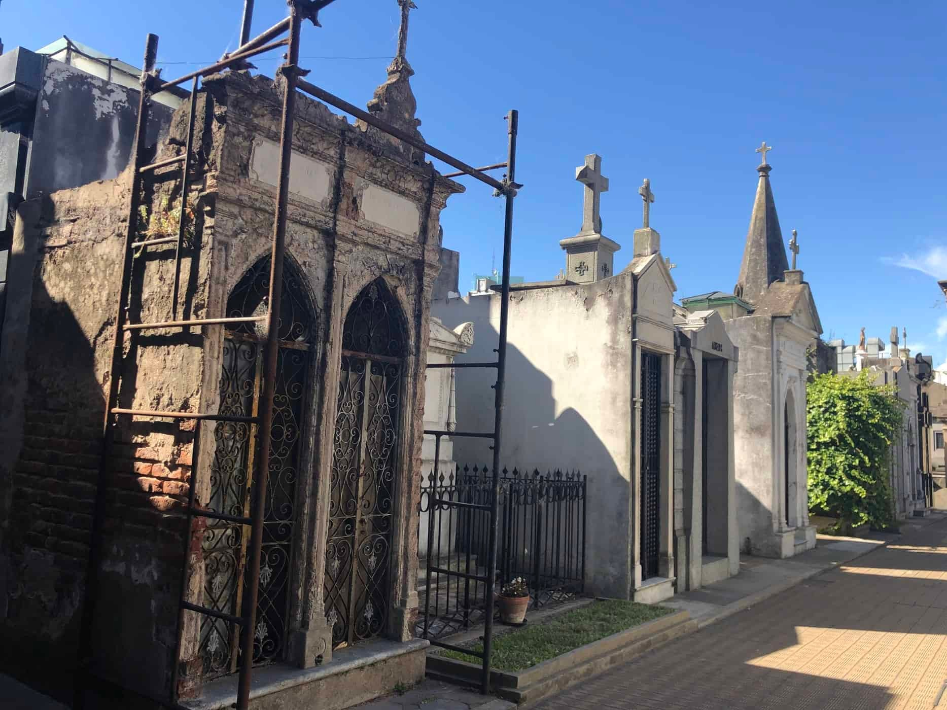 Mausuleoms and tombs in the cemetery. Buenos Aires.