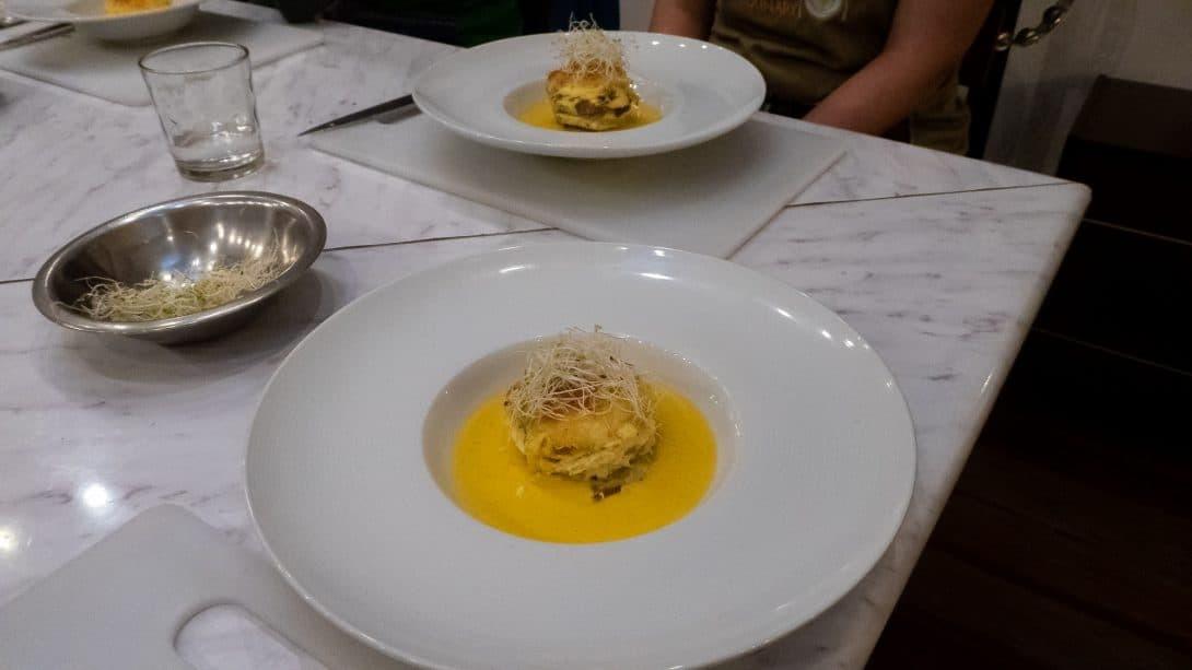 Soufflé prepared at Cusco Culinary cooking class.