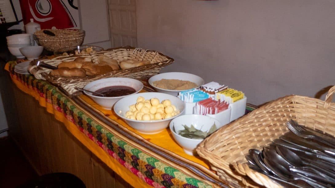 The breakfast spread at Magicpacker Hostel, Cusco.