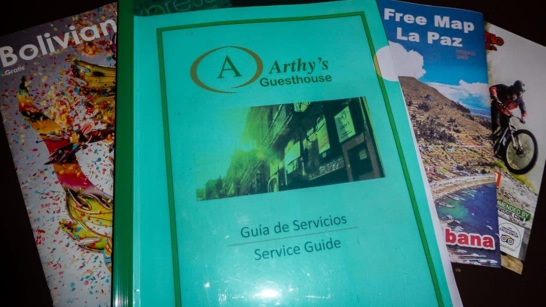 Arthy's Hostel information booklet