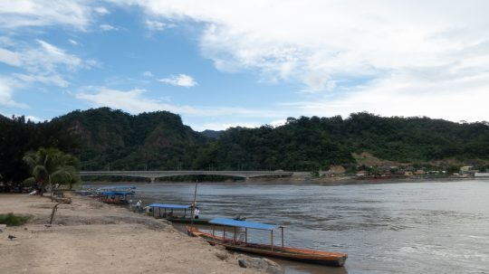 River with boats in Rurrenabaque, Bolivia
