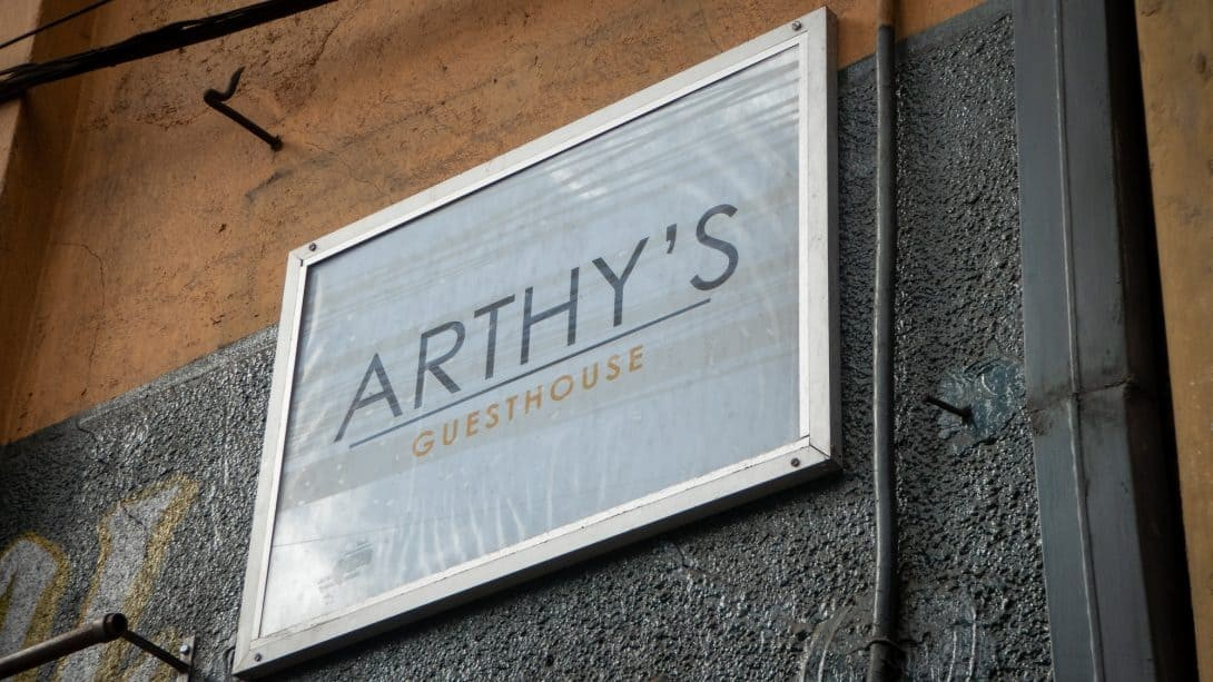 Arthy's Guesthouse sign